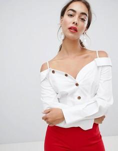 Блузка с пуговицами и открытыми плечами River Island - Белый