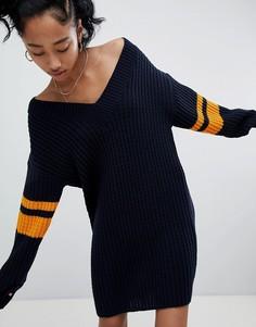 Oversize-платье с отделкой кантом в спортивном стиле ASOS DESIGN - Темно-синий