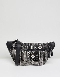 Сумка-кошелек на пояс с принтом в стиле 90-х New Look - Черный