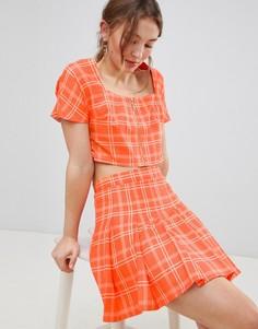 Комбинируемая мини-юбка плиссе в клетку Unique 21 - Оранжевый Unique21