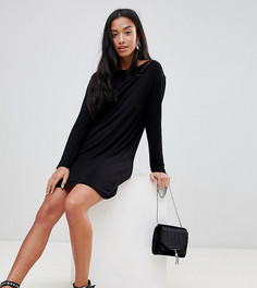 Свободное платье с длинными рукавами Boohoo Petite - Черный