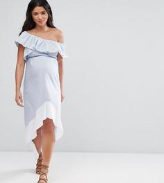 Полосатое платье на одно плечо с асимметричным краем ASOS Maternity - Мульти