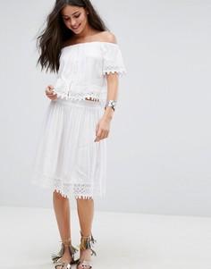 Пляжная юбка от комплекта с вышивкой Anmol - Белый