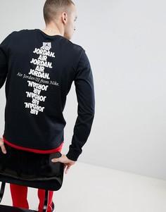 Черный лонгслив с принтом на спине Nike Jordan AJ3 943938-010 - Черный