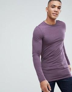 Фиолетовая удлиненная облегающая футболка с длинными рукавами ASOS DESIGN - Фиолетовый