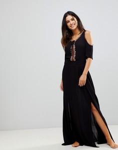 Пляжное платье макси с вырезами на плечах и вышивкой Liquorish - Черный