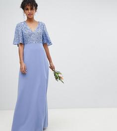 Платье макси с отделкой пайетками на лифе Maya - Синий