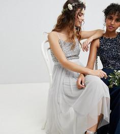 Платье миди с пайетками на лифе и юбкой из тюля Maya Bridesmaid - Серый