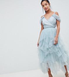 Платье миди на бретелях из тюля True Decadence Petite Premium - Серый