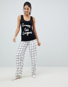 Пижама из штанов и топа с надписью Grumpy But Gorgeous Boux Avenue - Черный