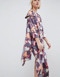 Шелковое платье с принтом и завязкой ASOS WHITE - Мульти