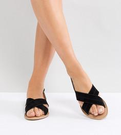 Замшевые сандалии для широкой стопы на плоской подошве Park Lane - Черный