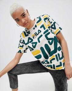 Oversize-футболка с логотипом Fila - Кремовый