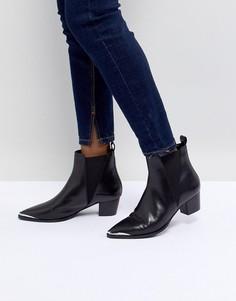 Черные кожаные ботинки с отделкой в стиле вестерн Office Azalea - Черный