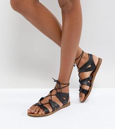 Черные кожаные сандалии на шнуровке Office Saffy - Черный
