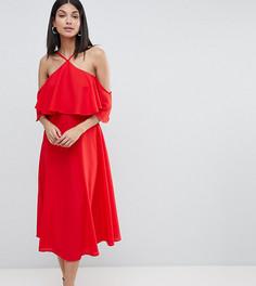 Платье миди с оборкой ASOS DESIGN Tall - Красный