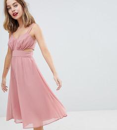 Платье миди на бретельках с вырезами ASOS DESIGN Petite - Розовый