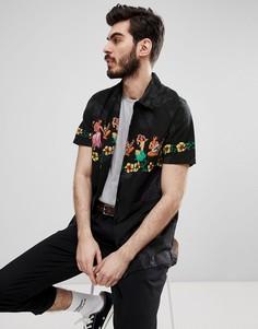 Черная рубашка с короткими рукавами и принтом Schott - Черный