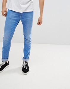 Выбеленные эластичные зауженные джинсы HUGO - Синий