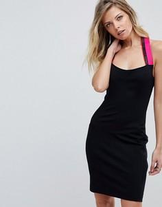 Облегающее платье с халтером и логотипом Versace Jeans - Черный