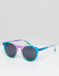 Круглые солнцезащитные очки с разноцветной оправой и черными стеклами ASOS - Мульти