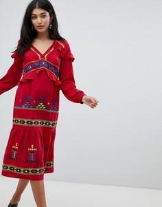Платье миди с ацтекской вышивкой и оборками ASOS DESIGN Premium - Красный