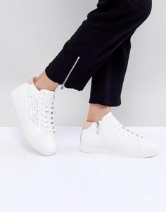 Высокие кроссовки на шнуровке с логотипом Emporio Armani Punch Hole - Белый