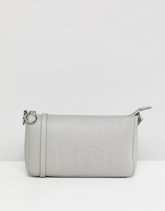 Кожаная сумка с логотипом HUGO - Серый