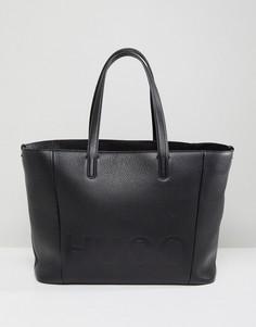 Кожаная сумка для покупок с логотипом HUGO - Черный