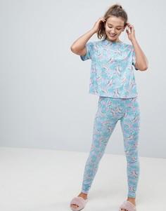 Пижамные леггинсы и футболка с динозаврами ASOS - Мульти