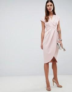 Платье миди с атласной отделкой ASOS DESIGN - Розовый