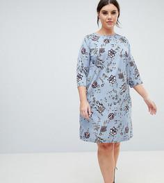 Свободное платье с цветочным принтом Junarose - Синий