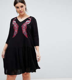 Свободное платье с вышивкой Junarose - Черный