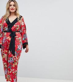 Комбинезон-кимоно с цветочным принтом ASOS DESIGN Curve - Мульти
