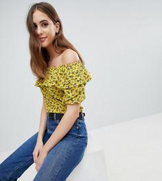 Топ с оборками и цветочным принтом Fashion Union Tall - Желтый