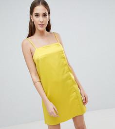 Атласное платье-комбинация с пуговицами сбоку Fashion Union Tall - Желтый