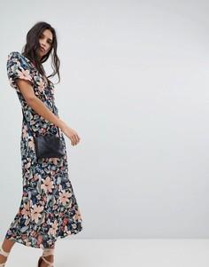 Платье миди с винтажным цветочным принтом Lily and Lionel - Мульти