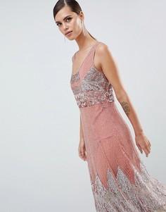 Платье миди с декоративной отделкой ASOS EDITION - Розовый