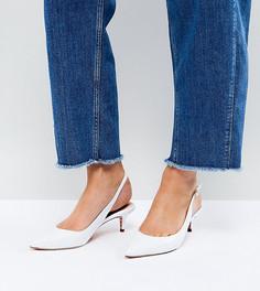 Кожаные туфли для широкой стопы на каблуке-рюмочке с ремешком через пятку Dune - Белый