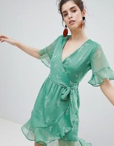 Платье с запахом и цветочным принтом Neon Rose - Зеленый