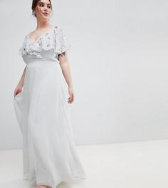 Платье макси с запахом ASOS DESIGN Curve - Серый