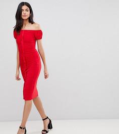 Облегающее платье миди с оборкой по центру ASOS DESIGN Tall - Красный