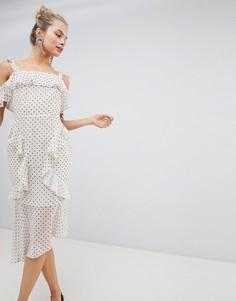 Мягкое платье-футляр миди с принтом ASOS DESIGN - Кремовый