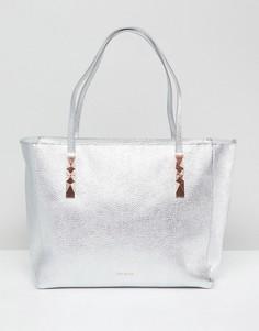 Кожаная сумка-тоут на молнии Ted Baker - Серебряный