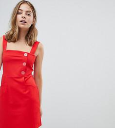 Платье мини А-силуэта с асимметричными пуговицами ASOS DESIGN Petite - Красный