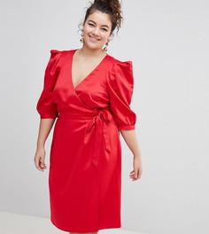Платье с запахом и поясом ASOS DESIGN Curve - Красный