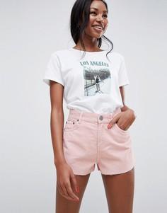 Бледно-розовые вельветовые шорты с необработанными краями ASOS DESIGN - Розовый