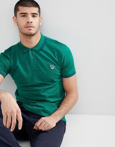 Поло зеленого цвета с контрастным кантом и логотипом PS Paul Smith - Зеленый