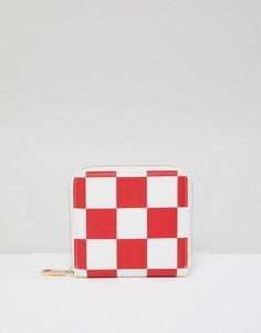 Кошелек в шахматную клетку на молнии ASOS DESIGN - Красный