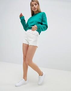 Белые джинсовые шорты с необработанными краями и строчками табачного цвета ASOS DESIGN - Белый